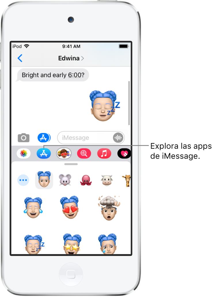 """Conversación de Mensajes con el botón """"Navegador de apps"""" de iMessage seleccionado. En la sección de apps abierta se muestran stickers con emoticonos."""