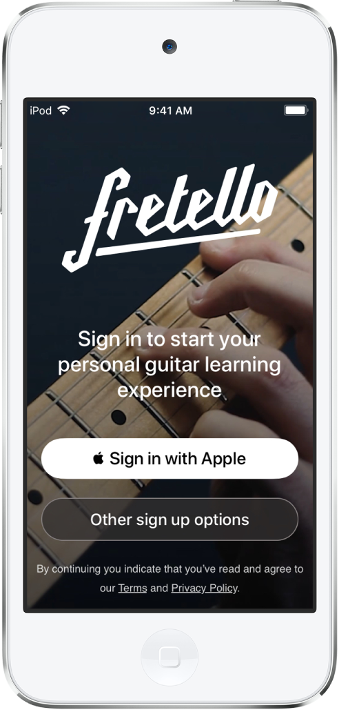 """App que muestra el botón """"Iniciar sesión con Apple""""."""