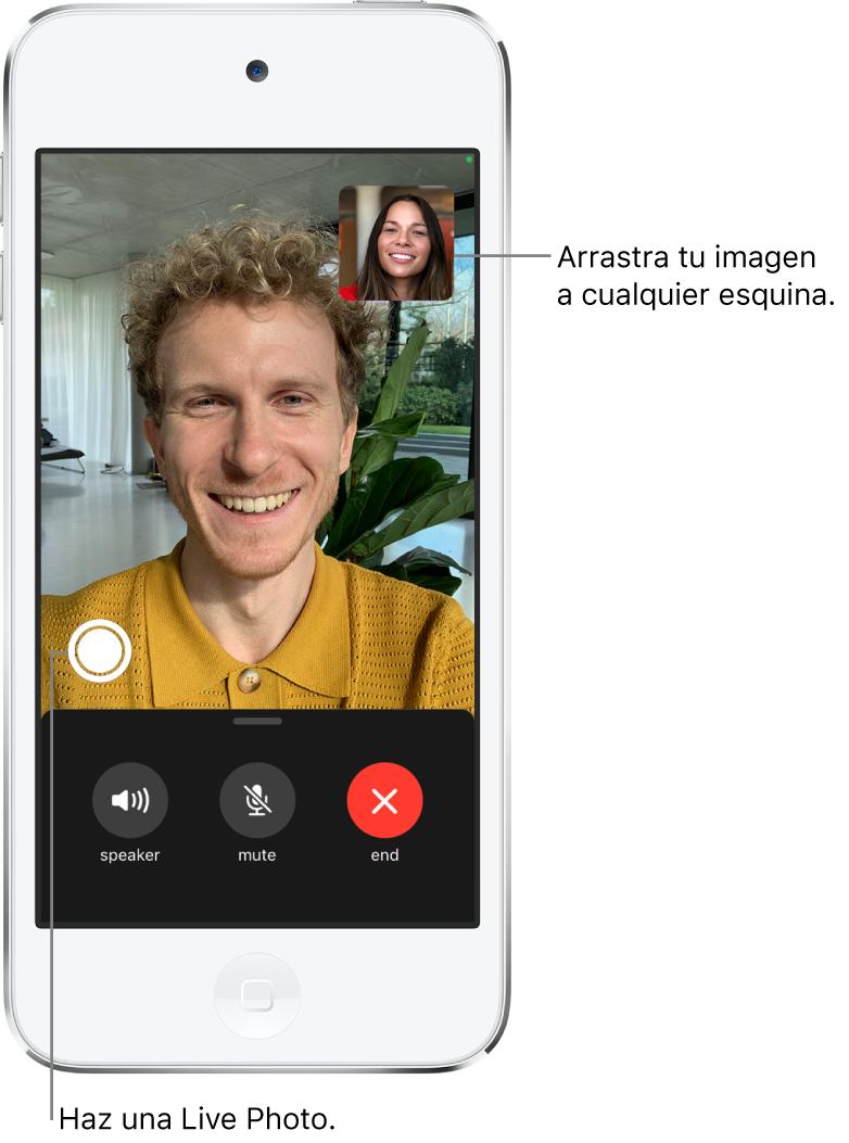 Pantalla de FaceTime con una llamada en curso. Tu imagen se muestra en un pequeño rectángulo en la esquina superior derecha, mientras que la imagen de la otra persona ocupa el resto de la pantalla. A lo largo de la parte inferior de la pantalla, se encuentran los botones Altavoz, Silenciar y Finalizar.