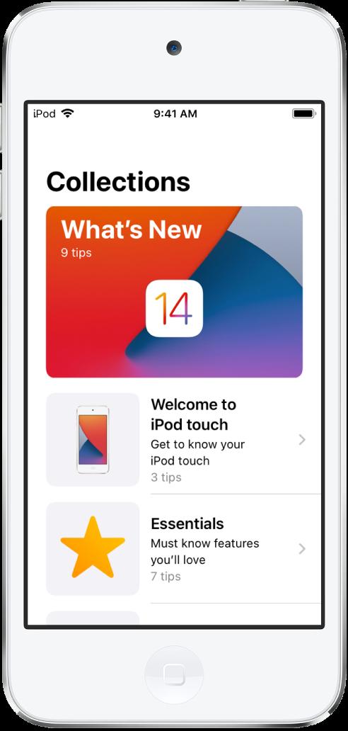 Een scherm met verzamelingen Tips met pijltjes naar rechts om aan te geven dat je op een verzameling kunt tikken om de tips daarin weer te geven.
