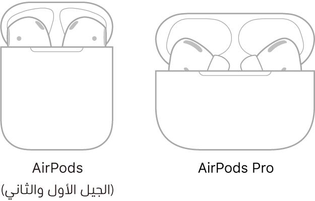 على اليمين، يظهر رسم توضيحي للـAirPodsPro في العلبة. على اليسار، يظهر رسم توضيحي للـAirPods (الجيل الثاني) في العلبة.