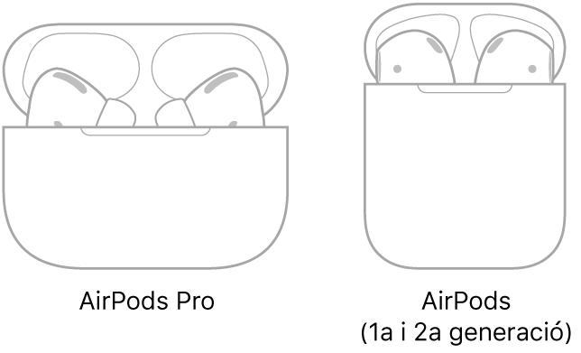 A l'esquerra hi ha una il·lustració dels AirPodsPro al seu estoig. A la dreta, una il·lustració dels AirPods (2a generació) al seu estoig.