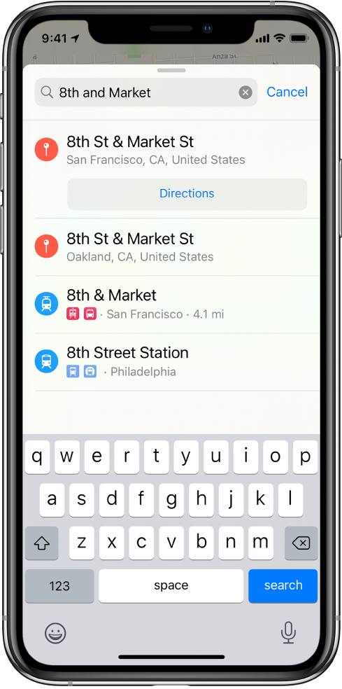 """The search card showing a search for the phrase """"8th and Market"""" and several results."""