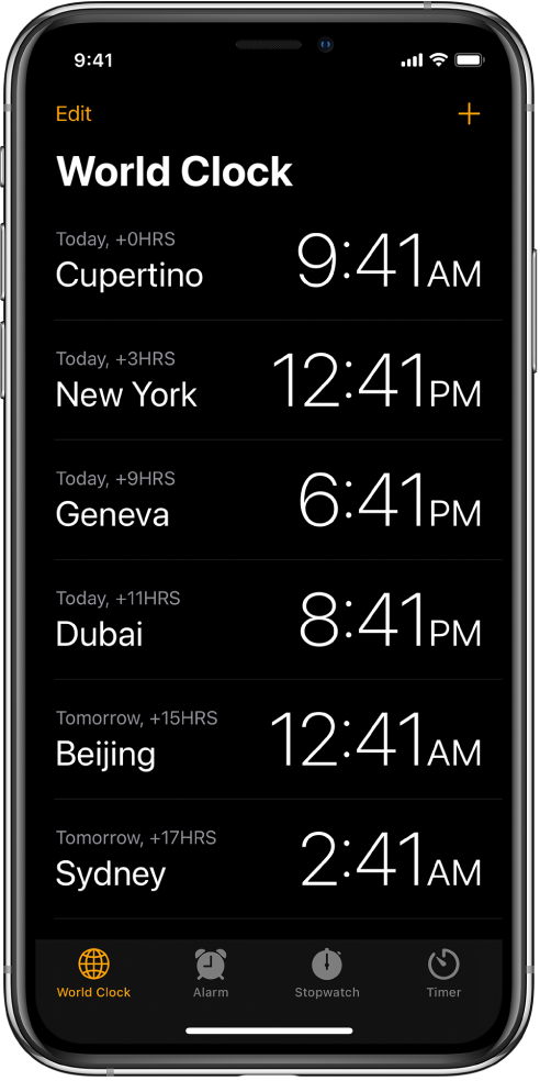 The World Clock tab, showing the time in various cities. Tap Edit in the upper-left corner to arrange the clocks. Tap the Add button in the upper right to add more. World Clock, Alarm, Stopwatch, and Timer buttons are along the bottom.