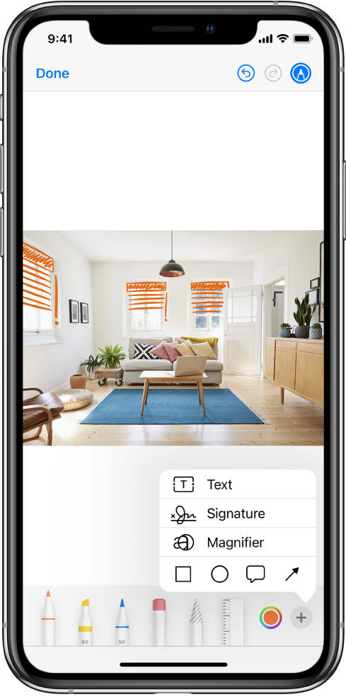 A photo is marked up with orange lines to indicate window blinds over windows. The Markup toolbar with drawing tools and the color picker appears at the bottom of the screen. A menu with choices for adding text, a signature, a magnifier, and shapes appears in the lower-right corner.