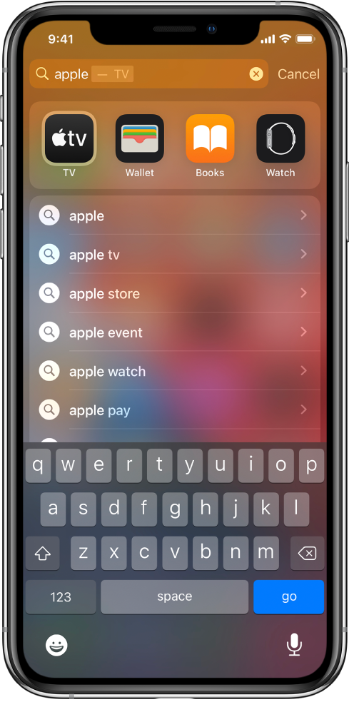 """A screen showing a search on iPhone. At the top is the search field with the search text """"apple,"""" and below it are search results found for the target text."""