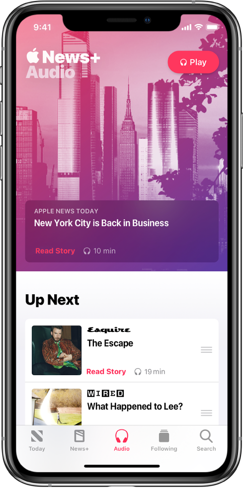 The Audio screen showing an Apple News Today briefing at the top. A Play button appears at the top-right of the story. Below the story is an Up Next section, which contains two stories. Five tabs are at the bottom of the screen—Today, News+, Audio, Following, and Search.