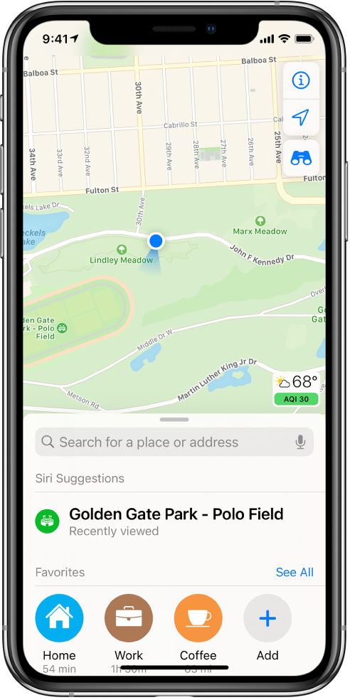A map of a park, and three favorites shown at the bottom of the screen. The favorites are Home, Work, and Coffee.