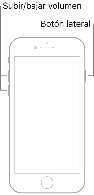 Ilustración de un modelo de iPhone con botón de inicio boca arriba. Los botones de subir y bajar el volumen se encuentran en el lado izquierdo del dispositivo y hay un botón lateral en el derecho.