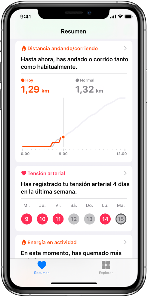 Pantalla Resumen con datos importantes que incluyen las distancias que se han recorrido caminando y corriendo durante ese día y el número de días de la semana pasada que se registró la tensión arterial.