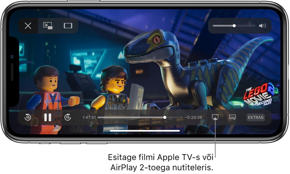 iPhone'i ekraanil esitatakse filmi. Ekraani allservas on taasesituse juhtnupud, k.a all paremal nupp Screen Mirroring.