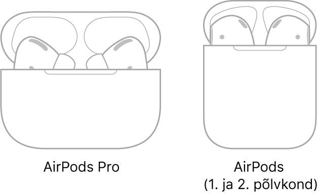 Vasakul on joonis AirPods Prodest oma ümbrises. Paremal on joonis AirPods Prodest (2. põlvkond) oma ümbrises.