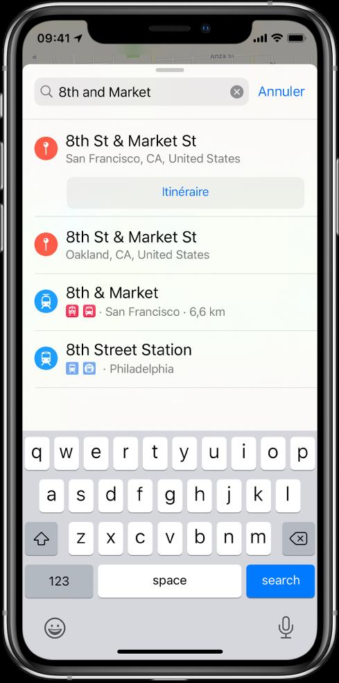 La fiche de recherche affichant une recherche vocale pour «8th et Market» avec plusieurs résultats.