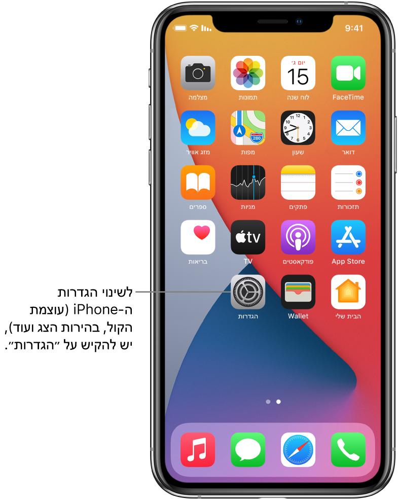 מסך הבית עם מספר צלמיות של יישומים, כולל הצלמית של היישום ״הגדרות״, שבהקשה עליה ניתן לשנות את עוצמת הקול של ה‑iPhone, את בהירות המסך ועוד.