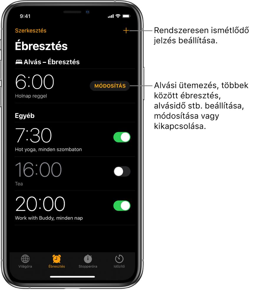Az Ébresztés lap, amelyen négy jelzés látható különféle időpontokra beállítva, ezenkívül egy gomb a jobb felső sarokban, amellyel egy rendszeresen ismétlődő jelzést lehet beállítani, és az Ébresztés egy olyan gombbal, amellyel az alvási ütemezés módosítható az Egészség alkalmazásban.