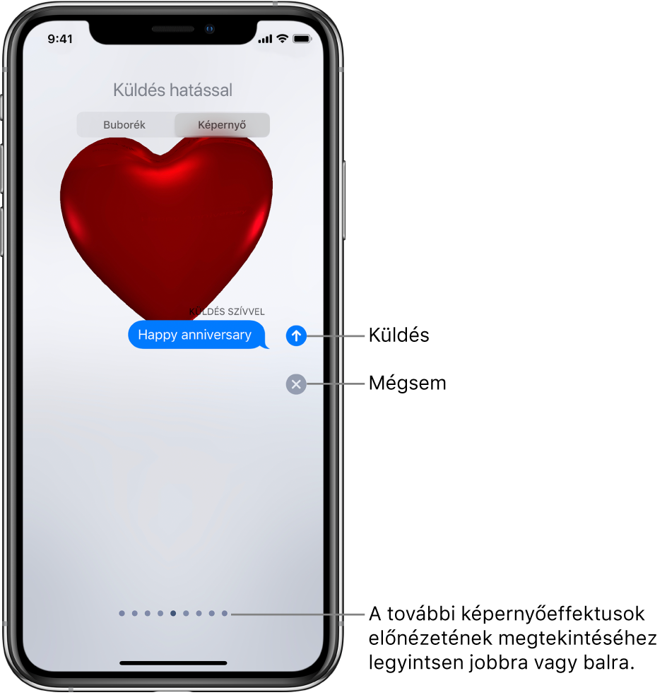 Egy üzenet előnézete piros szívet megjelenítő teljes képernyős effektussal.