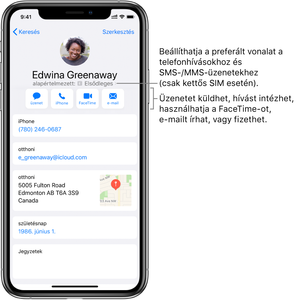 Egy kontakt adatait tartalmazó képernyő. A képernyő tetején a kontakt fotója és neve látható. A név alatt gombok találhatók, amelyekkel sima üzenetet vagy e-mailt küldhet, telefonhívást vagy FaceTime-hívást kezdeményezhet, illetve pénzt küldhet az Apple Payjel. A gombok alatt a kontakt adatai láthatók.