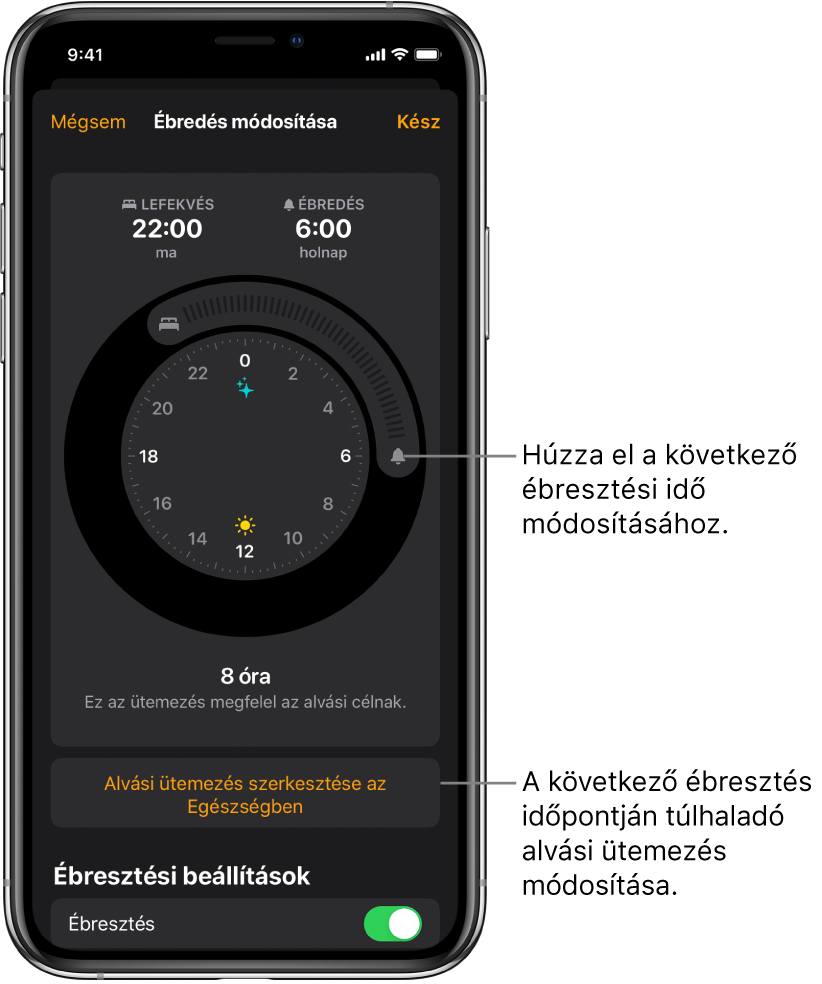 A következő napi ébresztés módosításának képernyője. A gombok elhúzásával módosíthatja az alvásidőt és az ébresztési időt, egy másik gombbal módosíthatja az alvási ütemezést az Egészség alkalmazásban, ezenkívül egy olyan gomb is rendelkezésre áll, amellyel az Ébresztés jelzését tudja be- vagy kikapcsolni.