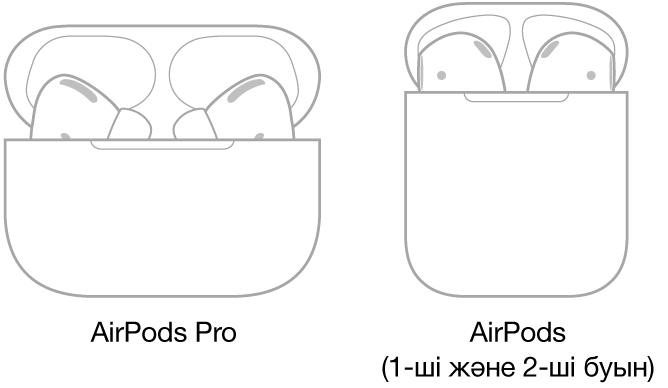 Сол жақта қорабында тұрған AirPods Pro құлақаспаптарының суреті. Оң жақта қорабында тұрған AirPods құлақаспаптарының (2-буын) суреті.