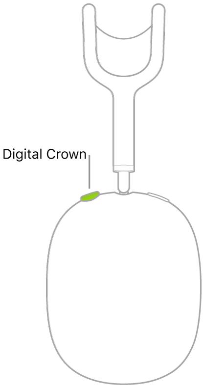 AirPods Max оң жақ құлақаспабындағы Digital Crown дөңгелегінің орнын көрсетіп тұрған сурет.