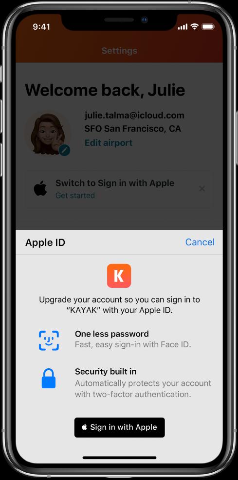 "Lietotne, kas attēlo pogu ""Sign in with Apple""."
