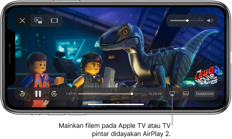 Filem dimainkan pada skrin iPhone. Di bahagian bawah skrin ialah kawalan main balik, termasuk butang Pencerminan Skrin berhampiran bahagian kanan bawah.