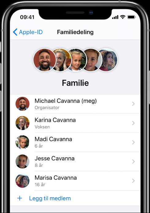 Familiedeling-skjermen i Innstillinger. Fem familiemedlemmer vises i listen, og Legg til familiemedlem vises nederst på skjermen.
