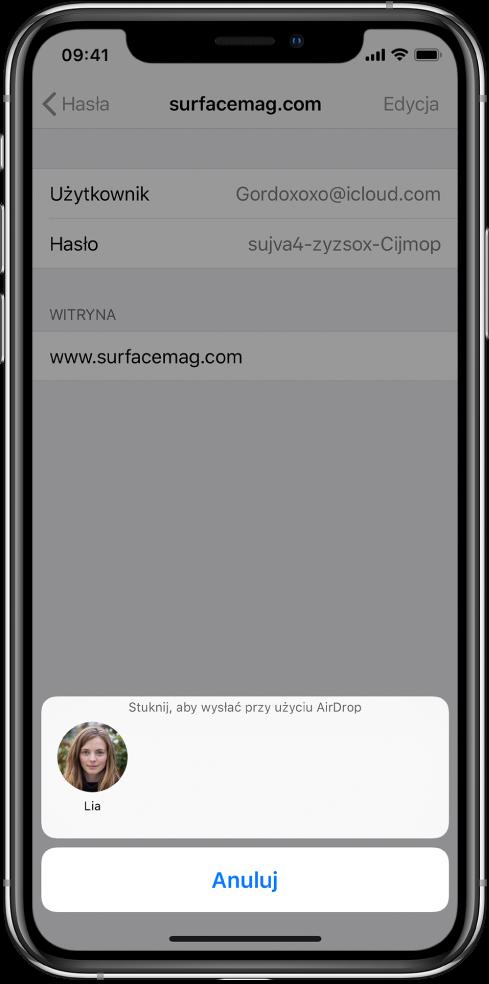 """Ekran konta dotyczący witryny. Na dole ekranu, pod etykietą """"Stuknij, aby wysłać przy użyciu AirDrop"""" znajduje się zdjęcie innej osoby."""