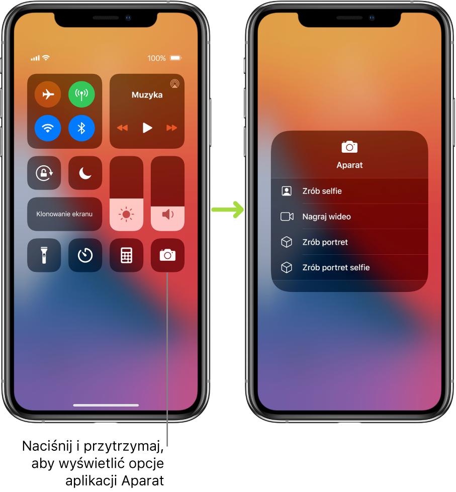 Ilustracja przedstawiająca dwa ekrany centrum sterowania. Ekran po lewej zawiera przyciski trybu Samolot, sieci komórkowej, Wi‑Fi iBluetooth (wlewym górnym rogu) oraz opis zinformacją, że dotknięcie iprzytrzymanie przycisku aplikacji Aparat pozwala wyświetlić narzędzia aplikacji Aparat. Ekran po prawej zawiera dodatkowe opcje aplikacji Aparat: Zrób selfie, Nagraj wideo, Zrób portret oraz Zrób portret selfie.