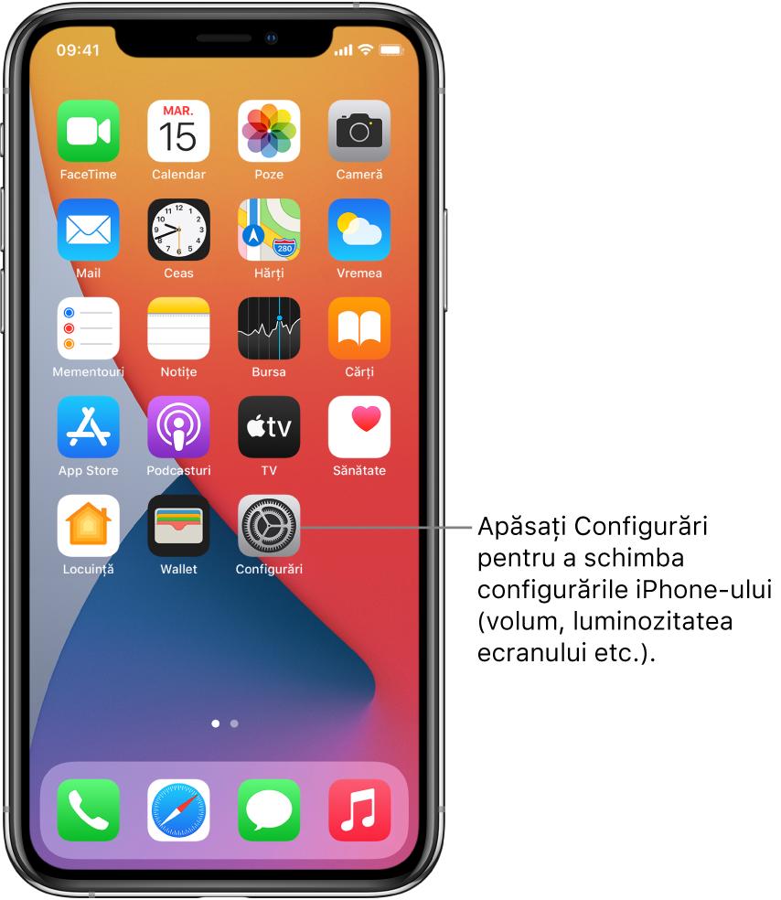 Ecranul principal cu mai multe pictograme de aplicații, inclusiv pictograma aplicației Configurări, pe care o puteți apăsa pentru a modifica volumul sunetelor, luminozitatea ecranului iPhone-ului etc.