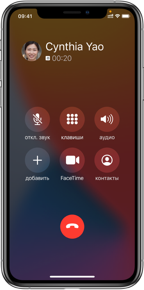 Часть экрана телефона, на которой показаны кнопки функций, доступных при совершении вызова. В верхнем ряду слева направо расположены кнопки отключения звука, клавиатуры и микрофона. В нижнем ряду слева направо расположены кнопки добавления вызова, FaceTime и контактов.