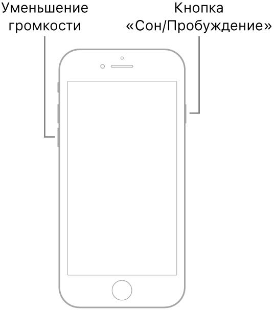 Иллюстрация iPhone7, расположенного экраном вперед. Кнопка уменьшения громкости расположена на левом боку устройства, а кнопка «Сон/Пробуждение»— на правом.