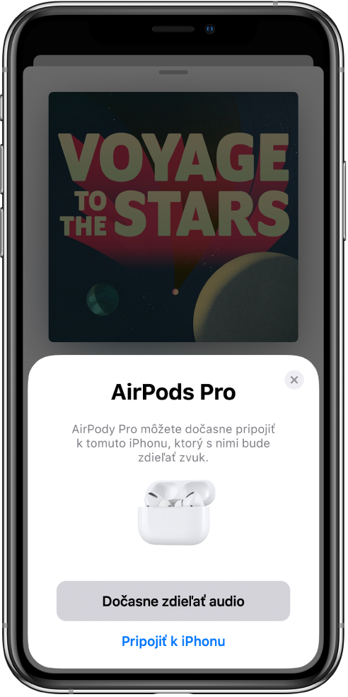 Obrazovka iPhonu sobrázkom AirPodov votvorenom nabíjacom puzdre. Vdolnej časti obrazovky sa nachádza tlačidlo na dočasné zdieľanie zvuku.