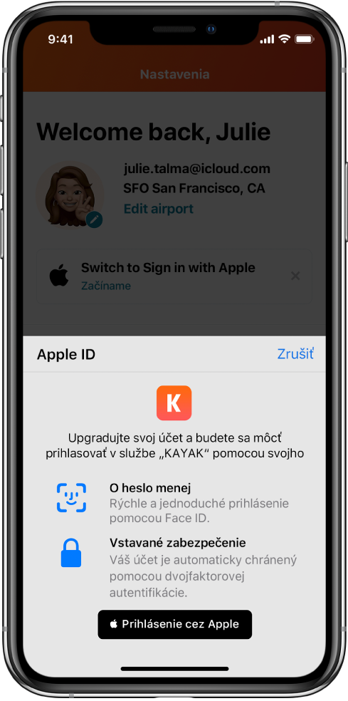Apka, vktorej sa zobrazuje tlačidlo Prihlásiť sa cez Apple.