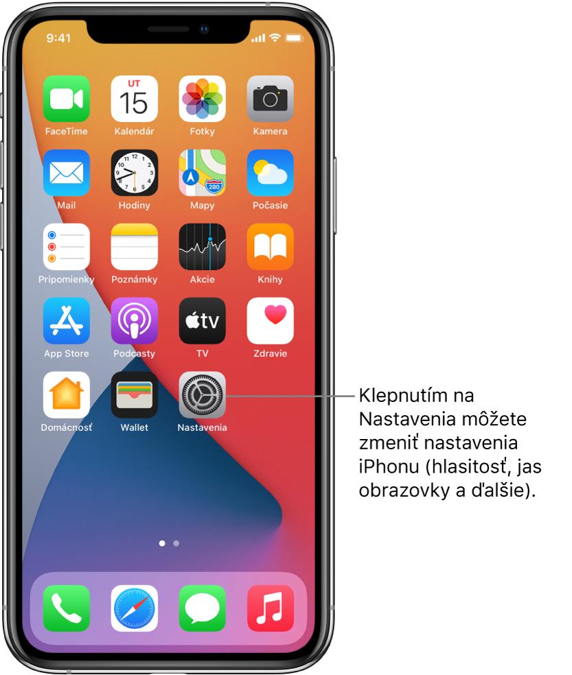 Plocha sniekoľkými ikonami apiek vrátane ikony apky Nastavenia, po klepnutí na ktorú môžete upraviť hlasitosť, jas obrazovky aďalšie nastavenia iPhonu.