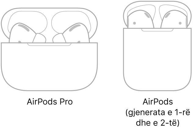 Në të majtë, një ilustrim i AirPods Pro në kasën e tyre. Në të djathtë, një ilustrim i AirPods (gjenerata e 2-të) në kasën e tyre.