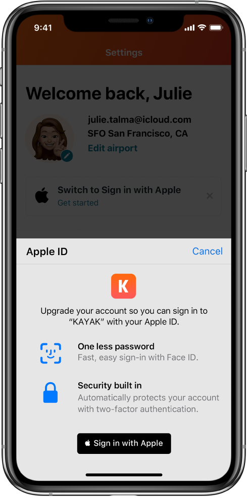 Një aplikacion që shfaq një buton Sign in with Apple.