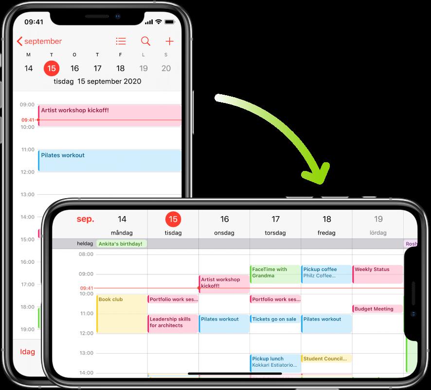 I bakgrunden visas en skärm i Kalender på iPhone med en dags aktiviteter i stående läge. I förgrunden visas en iPhone som har roterats till liggande läge, och där aktiviteter för hela veckan som dagen ingår i visas i Kalender.