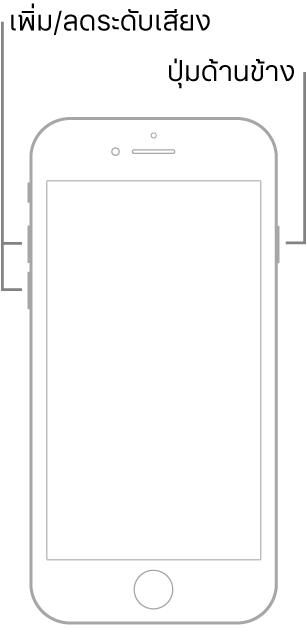 ภาพประกอบของ iPhone รุ่นที่มีปุ่มโฮมหงายหน้าขึ้น ปุ่มเพิ่มระดับเสียงและปุ่มลดระดับเสียงแสดงอยู่ด้านซ้ายของอุปกรณ์ และปุ่มด้านข้างแสดงอยู่ด้านขวา