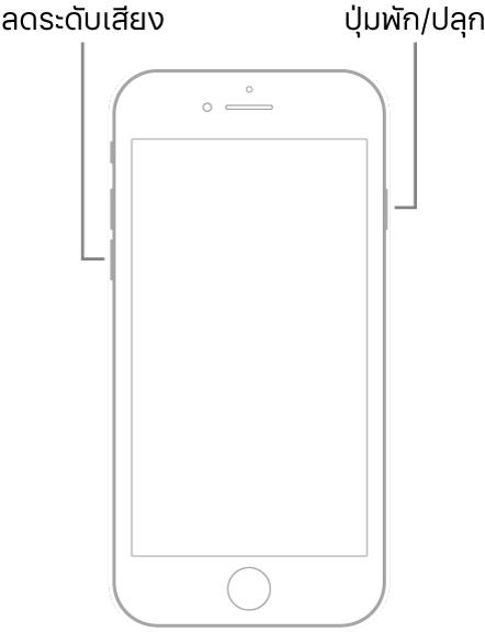 ภาพประกอบของ iPhone 7 ซึ่งหงายหน้าจอขึ้น ปุ่มลดระดับเสียงแสดงอยู่ด้านซ้ายของอุปกรณ์ และปุ่มพัก/ปลุกแสดงอยู่ด้านขวา