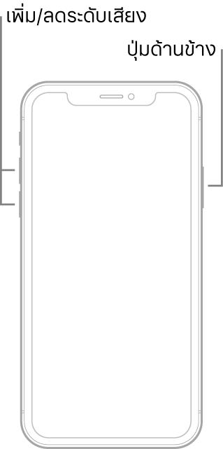 ภาพประกอบของ iPhone รุ่นที่ไม่มีปุ่มโฮมหงายหน้าขึ้น ปุ่มเพิ่มระดับเสียงและปุ่มลดระดับเสียงแสดงอยู่ด้านซ้ายของอุปกรณ์ และปุ่มด้านข้างแสดงอยู่ด้านขวา