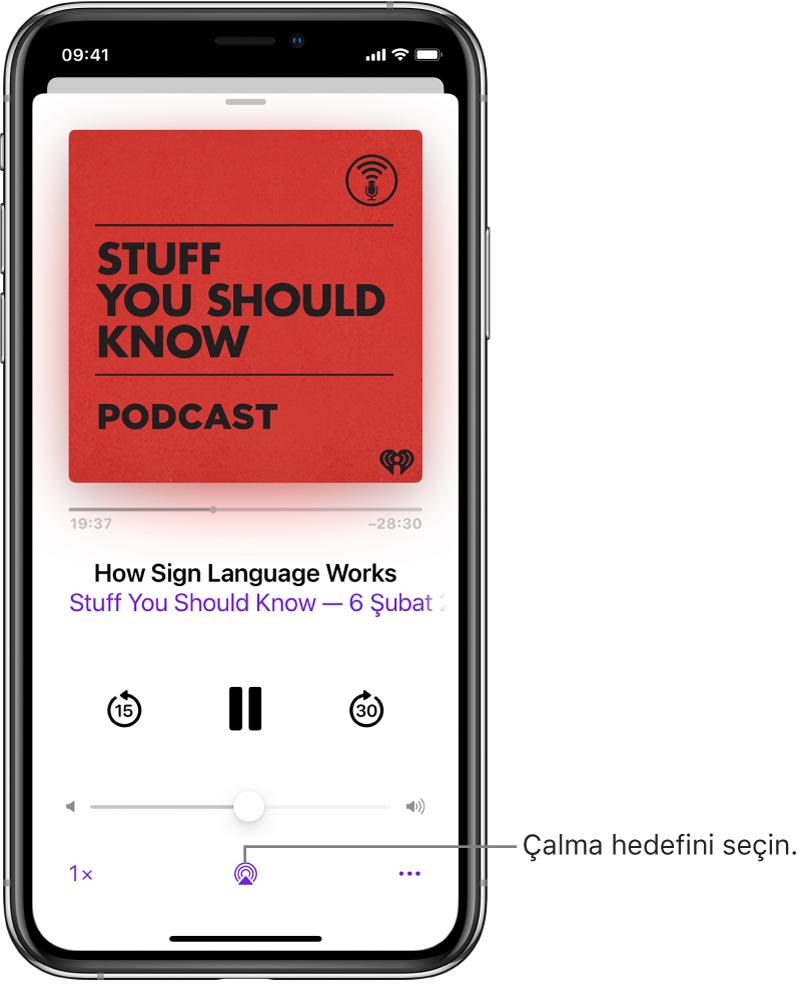 Ekranın en altında Çalma Hedefi düğmesini de içeren podcast çalma denetimleri.