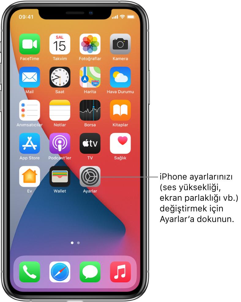 iPhone'unuzun ses yüksekliğini, ekran parlaklığını ve daha birçok şeyi değiştirmek için dokunabileceğiniz Ayarlar uygulamasının simgesi de dahil olmak üzere birçok uygulama simgesinin bulunduğu ana ekran.