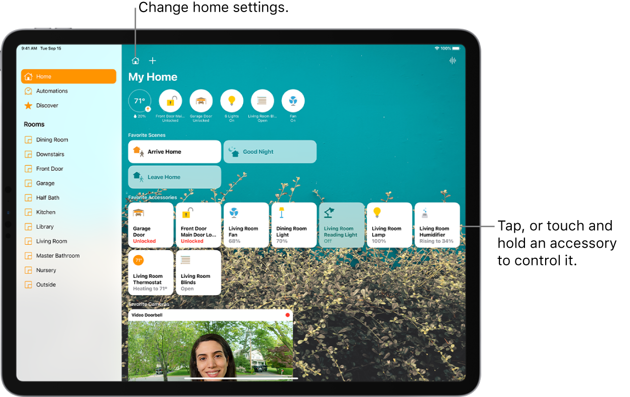 The Home app with the sidebar on the left, showing Home, Automation, and Discover tabs near the top left. Rooms within the home appear below. To the right of the sidebar, at the top, are the Home Settings button and Add button. The Intercom button is at the top right. Six status buttons appear near the top—thermostat, lock, garage door, lights, shades, and fan. Below that are scenes and accessories that have been marked as favorites. At the bottom is an image taken with a video doorbell.