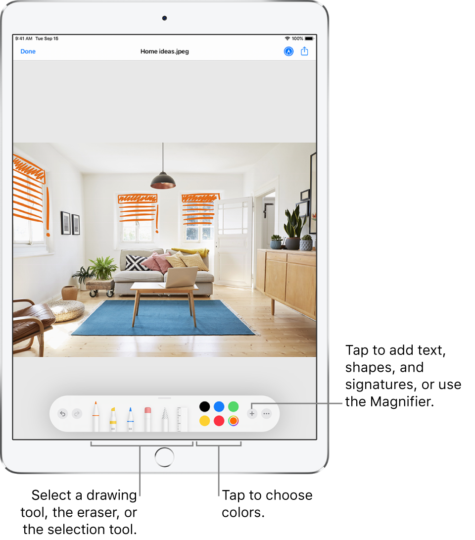 An image in a Markup window. Below the image, from left to right, are buttons for the Markup tools: drawing pens, eraser, selection tool, colors, and buttons for adding a text box, your signature, and shapes, and for choosing the Magnifier.
