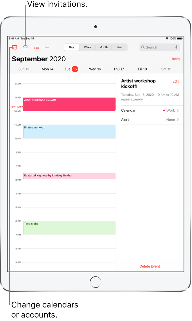 A calendar in day view. Tap the buttons at the top to change the view between Day, Week, Month, and Year. Tap the Calendars button to change calendars or accounts. Tap the Inbox button, located at the top left, to view invitations.
