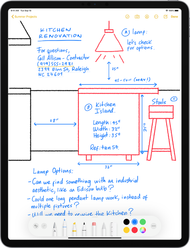 A note showing drawings with handwritten text.