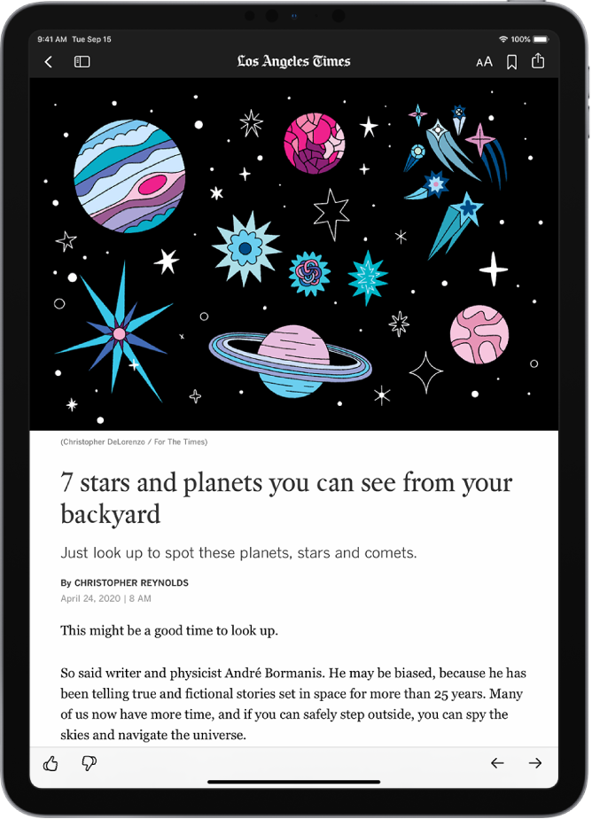 A News story. At the top left are the Previous and Sidebar buttons. The name of the publication appears at the top middle. The Text Size, Save, and Share buttons are at the top right. A large image takes up the top half of the screen. Below the image are the story headline, byline, story date, and the story's first two paragraphs. At the bottom left are the Suggest More and Suggest Less buttons. At the bottom right are the Previous and Next buttons.