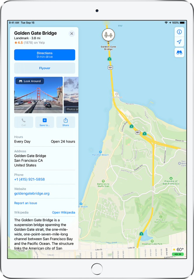 A map showing the location of Golden Gate Bridge. The information card on the left side of the screen includes buttons for getting directions, taking a Flyover tour, and making a telephone call. The information card also lists information like open hours, an address, and a website.