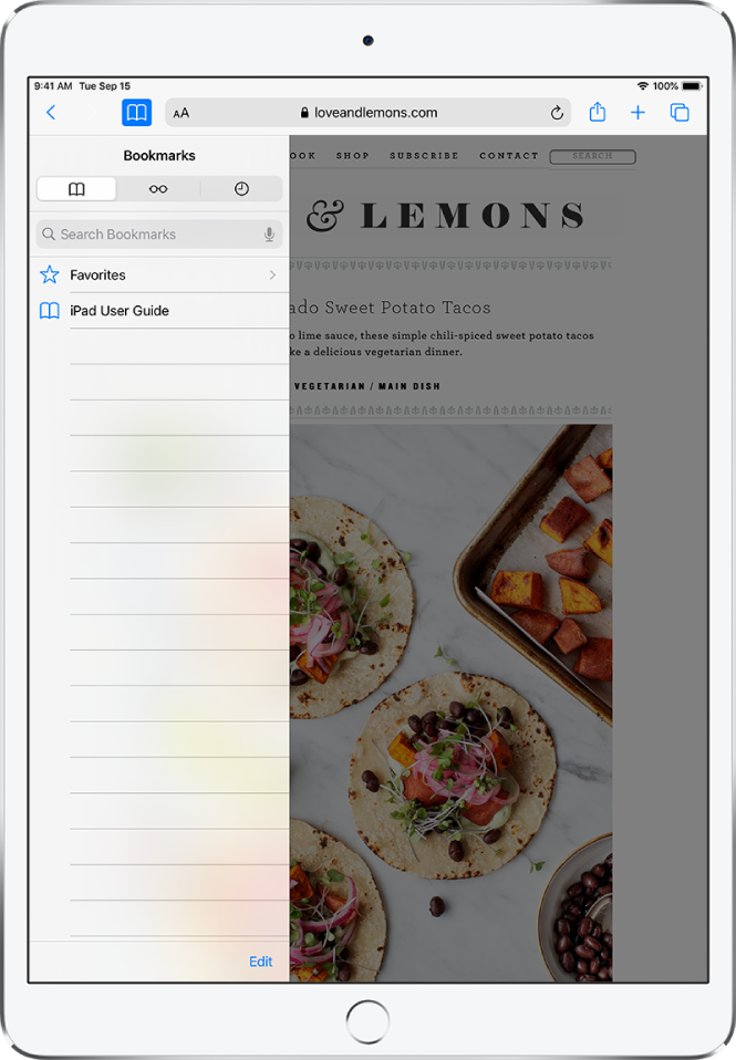 The Bookmarks sidebar, with options to see favorites and browsing history along with bookmarks.